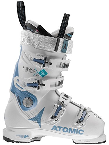 White and Blue Atomic Hawx 90 Skiing Boots