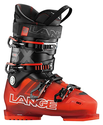 Red and Black Transparent Lange SX 90 Boots for Skiing