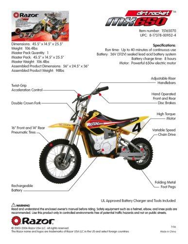 Razor MX650 dirt bike design
