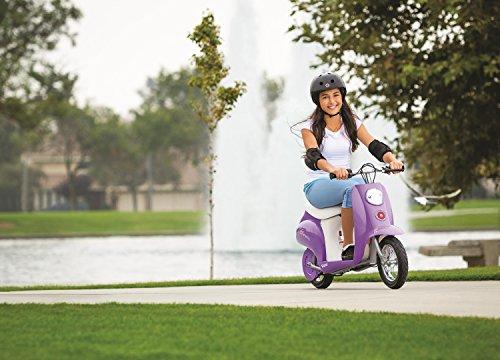 girl riding razor pocket mod in park