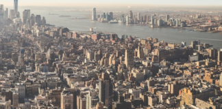 aerial view of new york city in the morning
