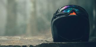 black helmet with separate goggles