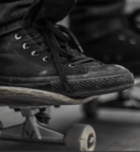 black high top skate shoes
