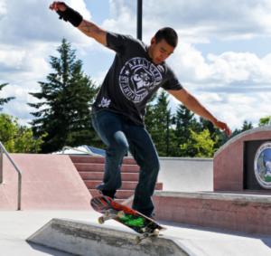 skateboarder on a goofy stance