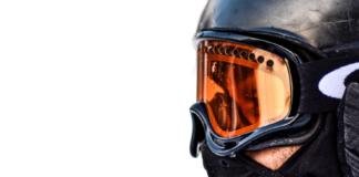 ski mask with orange goggles