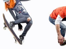 two skaters on white background