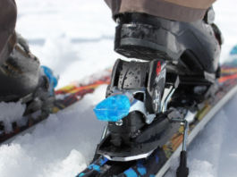 close up photo of snowboard bindings