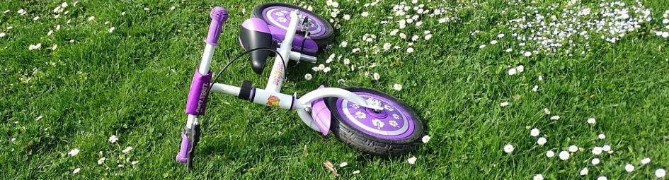 purple balance bike in the grass field