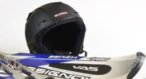 skiis and ski helmets