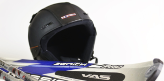skiis and ski helmets