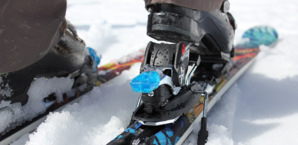 snowboard bindings attached