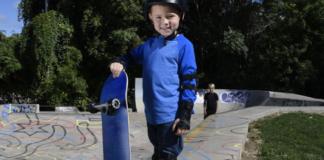 Kid with skateboard