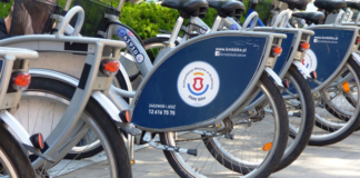 Bicycles on parking area