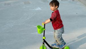 Child boy biking