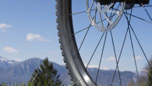 mountain bike wheels close up on spokes