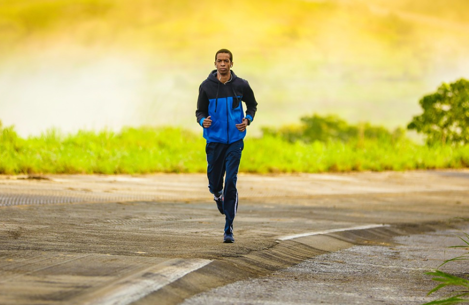 Man running with earphone