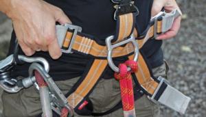 Man wearing harness