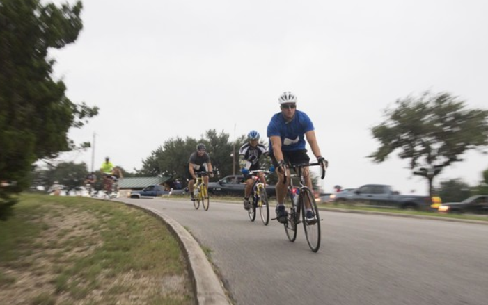 Group of people biking