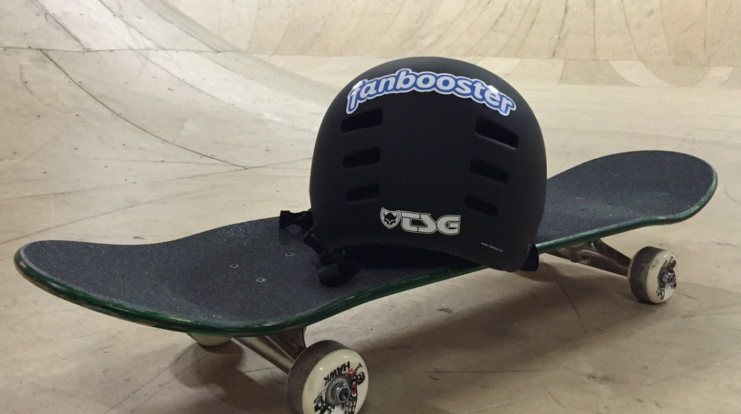 Helmet over Skateboard