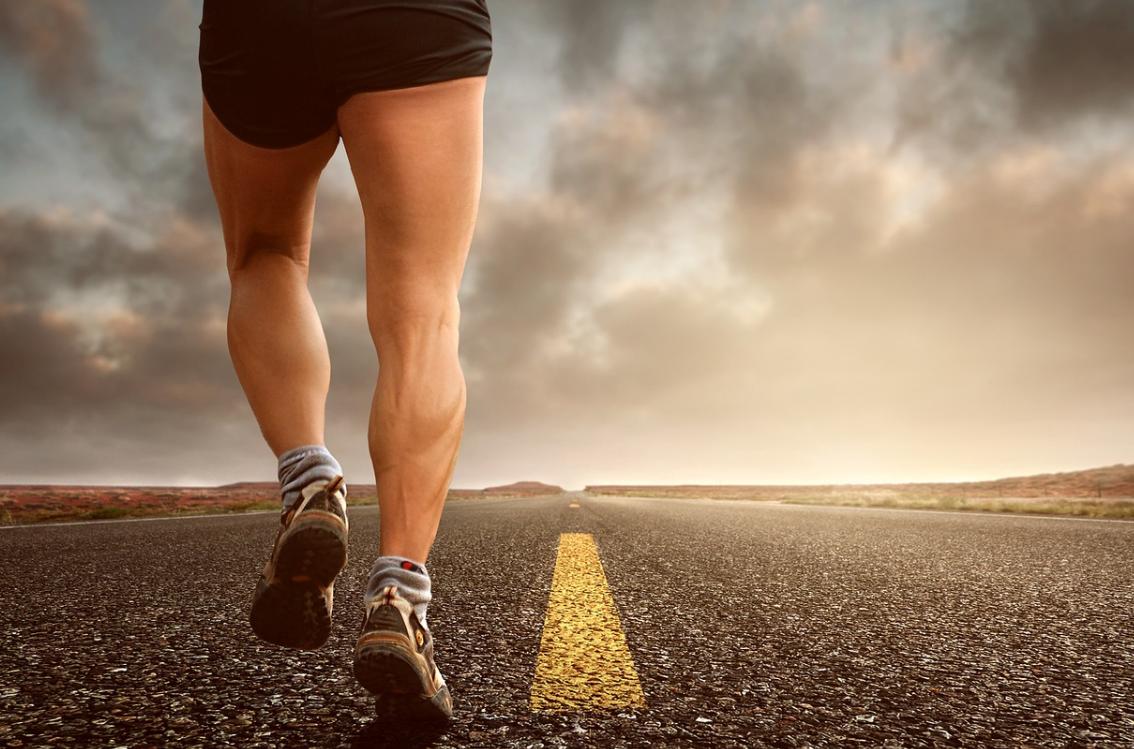 Legs of the man running