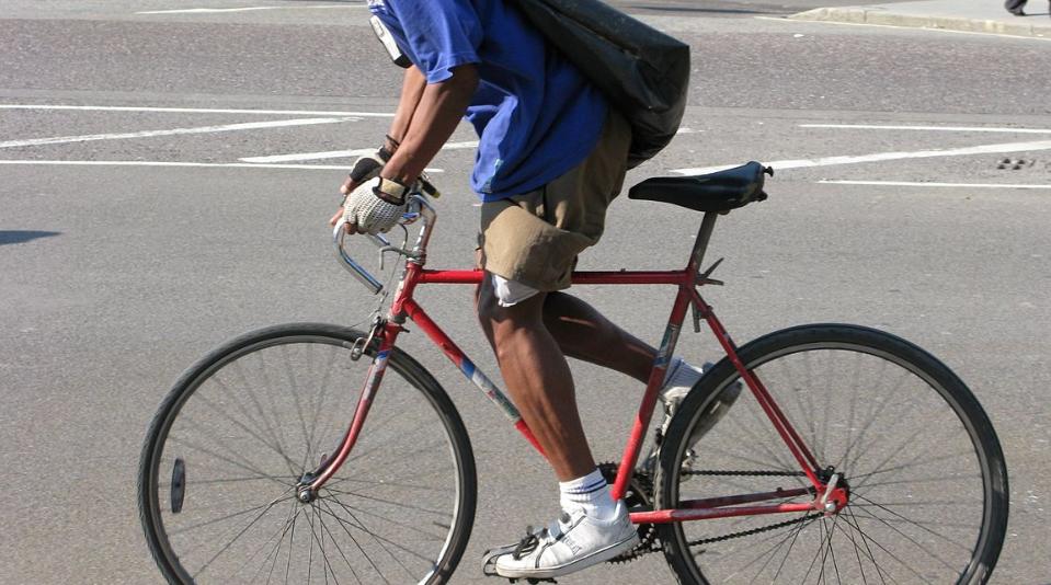 Man riding in single speed bike