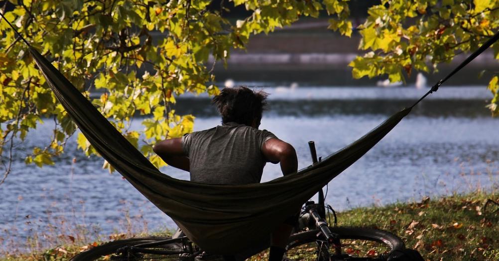 Man sitting on hammock