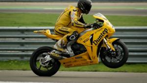 Motorcycle wheelie stunt