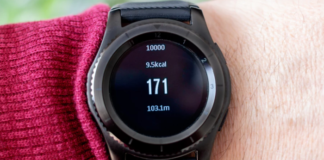 Person wearing black pedometer
