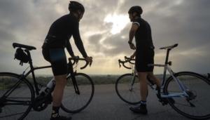 Two men on their mountain bikes