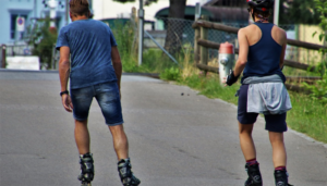 Two person roller skating