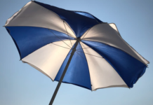 White and Blue Patio Umbrella