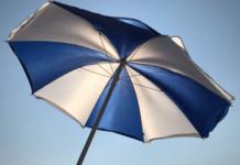 White and Blue Patio Umbrella