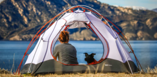 Woman with a dog inside camping tent