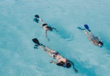 3 person snorkeling