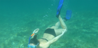 Woman under the water diving snorkeling