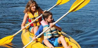 Boy and Girl Kayaking