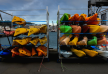 Kayaks on a rack