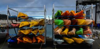 Kayaks on a rack