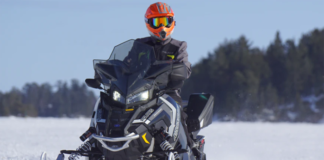 Person riding on a snowmobile