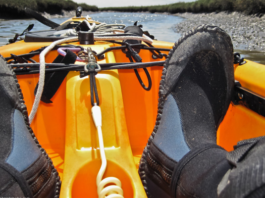 Person's foot on a kayak