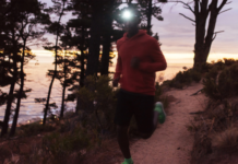 Man running with headlamp