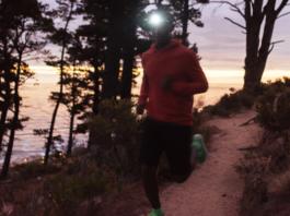 Man running with headlamp